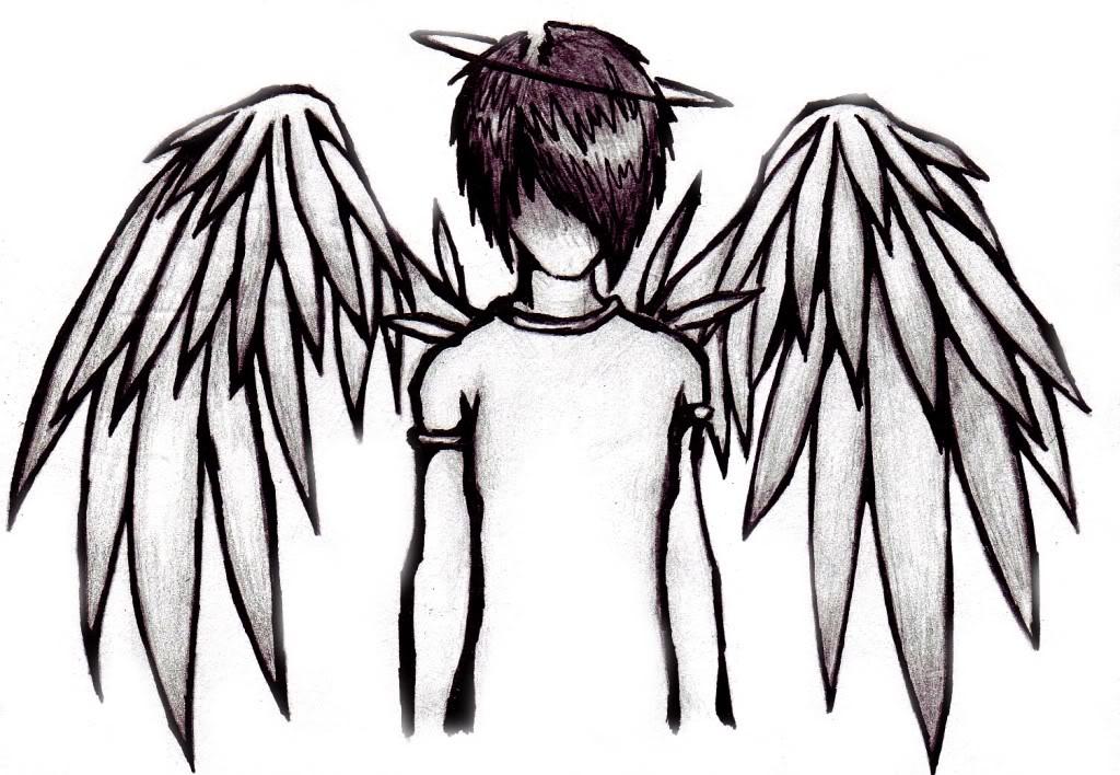 anime drawings emo. anime angel drawings. anime